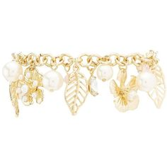 Charlotte Russe Leaf, Flower & Pearl Bead Charm Bracelet ($6) ❤ liked on Polyvore featuring jewelry, bracelets, gold, pearl charm bracelet, lobster claw charms, chunk charms, lobster claw clasp charms and leaf charms