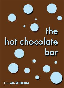 this is actually a commercial site, but the list of hot chocolates that they serve make a great idea list for 'recipes' to make available at the party!