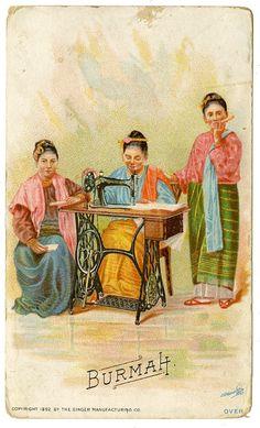 Singer Sewing Machine's World, 1892, Burmah Trade Card