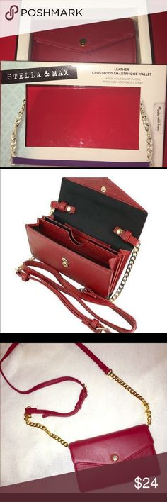 Brand New Stella and Max Leather Crossbody Smartphone Wallet