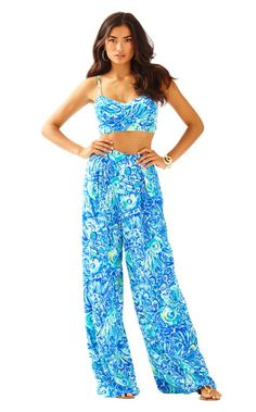 The Lizzy Set is a crop top with a wide leg pant set. The set is a nod to vintage Lilly style.