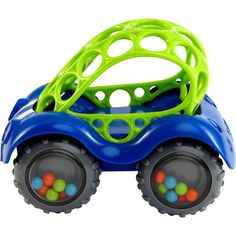 """This car is very easy to grip to push and pull because of the holes. [My child] loves it. He also flips it on its side and spins the wheels with his fingers to hear the beads rattle. I love it when he does it, because he's playing, but working on his fine motor skills""  O Ball Rattle and Roll Car Assorted Colors & Styles Oball http://www.amazon.com/dp/B00CL2H1U2/ref=cm_sw_r_pi_dp_CcKOvb0C5JP5F"