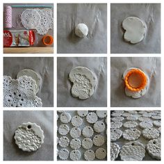 Ornament collage by Christina Lowry, air drying clay with an image pressed into it to make Christmas ornaments.