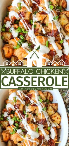 Say hello to your new favorite casserole recipe for dinner! Not only is it incredibly hearty, but it is also full of flavor and spice from layers of seasoned potatoes and chicken topped with bacon, cheese, and ranch dressing. Plus, this budget-friendly meal is easy to make! Chicken Lunch Recipes, Italian Chicken Recipes, Chicken Appetizers, Dinner Recipes, Chicken Potato Casserole, Homemade Ranch Dressing, Real Food Recipes, New Recipes, Most Delicious Recipe
