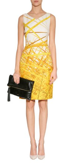 A yellow-hued floral and fauna-inspired print covers this sleek cotton-silk frock from Akris #Stylebop