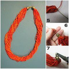#howto Coral Multistrand Necklace How-To, utilização de cord ends -blogue Beading Daily - Kate Wilson