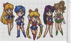 Sailor Scouts cross stitch pattern by birdiestitching! So cute!