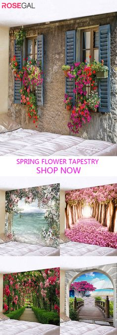 Rosegal: Womens Plus Size Trends & Mens Fashion Styles Online Hanging Art, Tapestry Wall Hanging, Art Decor, Decoration, Blanket On Wall, Primitive Homes, Cool Walls, Flower Prints, Wall Prints