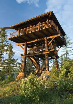 Lookout towers engineered plans for 1 story lookout for Fire tower cabin plans