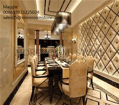 Dining Room Design Luxury Feeling Three Dimentional Natural Marble Wall Design