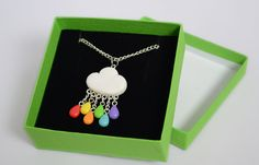 Handmade Cloud Necklace with Rainbow Rain Drops by Linnypig.deviantart.com on @deviantART