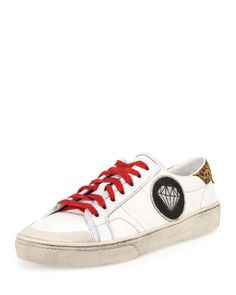 Court Classic Leather Low-Top Sneaker, Off White/Tan
