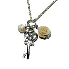 Scissor Charm Necklace with Freshwater Pearl by CloudNineDesignz, $18.00