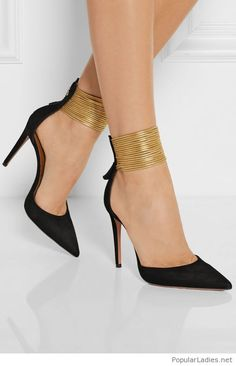 Black shoes with gold details