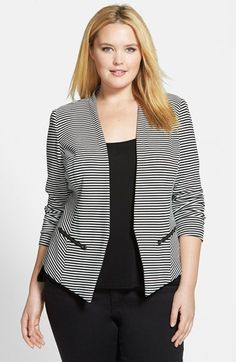 Free shipping and returns on Sejour 'Jetsetter' Stripe Ottoman Knit Jacket (Plus Size) at Nordstrom.com. Graphic stripes pattern this cutaway jacket crafted from a stretchy ottoman-ribbed knit for all-day comfort. The fitted silhouette lends polish to the open-front design.