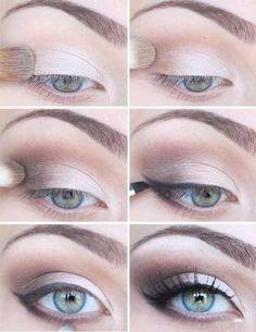 (cream > light tan > darker tan) + eyeliner + mascera/ eyelash curler