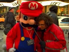 Kyle Mooney couldn't get much on the Super Bowl from this guy in Times Square