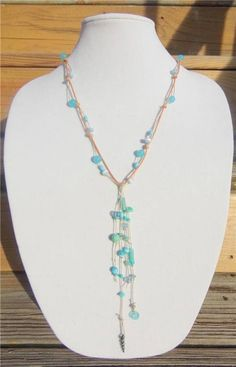 Glass Bead and Leather Necklace Greek Green Patina Boho Chic Necklace N500
