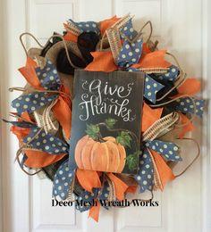 Fall Wreath, Harvest Wreath, Autumn Wreath, Pumpkin Wreath, Farm Wreath, Burlap Wreath, Deco Mesh Wreath, Halloween Wreath, Country Wreath by DecoMeshWreathWorks on Etsy