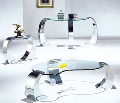 very modern coffee tables with chrome detail Acme Furniture, Unique Furniture, Quality Furniture, White Furniture, Futuristic Interior, Futuristic Furniture, Best Interior Design, Modern Interior, Eclectic Coffee Tables