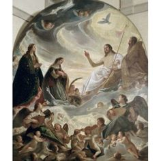 Trinity with Saints Ursula & Margaret Antonio Maria Viani (ca 1555-1635 Italian) Ducal Palace Mantua Italy Canvas Art - Antonio Maria Viani (18 x 24)