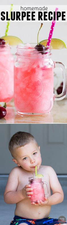 Skip the convenience store - you can make this Homemade Slurpee Recipe at home with only 3 ingredients! Plus, the flavor combinations are endless! Smoothie Drinks, Detox Drinks, Smoothie Recipes, Smoothies, Drink Recipes, Limeade Drinks, Refreshing Drinks, Summer Drinks, Fun Drinks