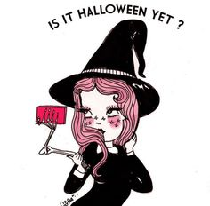 I dont do well in 100 degree weather. Today was a hot one. Dreaming of October sipping wine and hanging out in my AC tonight! Psy Art, Goth Art, Witch Aesthetic, Creepy Cute, Halloween Wallpaper, Halloween Art, Horror Art, Art Inspo, Illustration Art