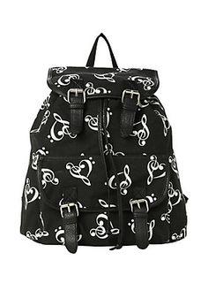 "<p>Black slouch backpack with allover music clef design. Snap button and drawstring closure.</p>  <ul> <li>13"" x 5"" x 13""</li> <li>Imported</li> </ul>"