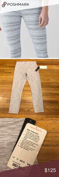 Lululemon Gray Wee Stripe High Times Brand new with tags. Very hard to find this print! They are a size 10 and beautiful. lululemon athletica Pants Leggings