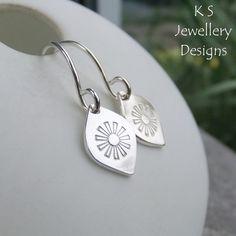 Stamped Daisy Flower Drops Sterling Silver Earrings - Metalwork Floral Jewellery £24.00