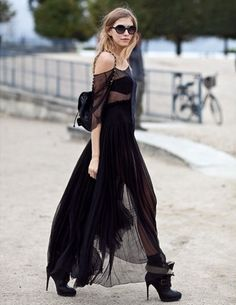 Elena Perminova - Sheer dress with Chanel Chain Backpack and Burberry Prorsum Aviator Shearling Boots.