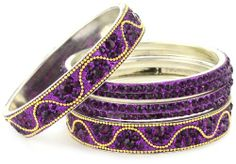 Chamak by Priya Kakkar set of 6 Amethyst - Color Crystal Bangle Bracelets with A Gold Wave