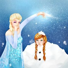Anna From Frozen Fan Art | Frozen: Elsa and Anna :) by LesioletteChrysanthe