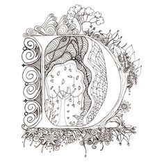 Monogram, Initial, Colour-Me-In Illuminated Letters - D, original art drawings by melanie j cook