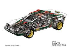 """1974 Lancia Stratos Gr.4 """"homolgation special"""". A concept that would eventually lead to the ill-fated Group B rally cars of the 80s which would become outlawed."""