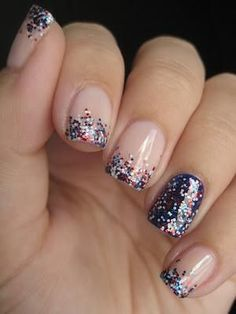 simple nail art – nude base, purple tips and ring finger, top the ends with glitter in a fade from tip to middle. @ joycotton