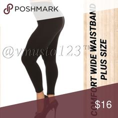 """PLUS BLACK WIDE WAISTBAND FLEECE LEGGING ‼️PLUS SIZE ONLY‼️ AMAZINGLY COMFORTABLE FLEECE LEGGING - BLACK  I've never felt a more comfortable waist band!   Super soft, High waist fleece leggings with thick wide band for incredible 👍tummy control🙏!!!  95% Polyester, 5% Spandex  One size fits plus fits size  12-18  Inseam fits 26-33  *This model is wearing size Plus Size. *Measurements are 40Dx38x45 and height is 5' 10"""" (177.8 cm) ValMarie Boutique Pants Leggings"""