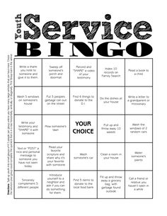 Youth Service Bingo …: Reading Time: 1 minute Youth Service Bingo More Source by natalievandersl The post Youth Service Bingo… Mutual Activities, Youth Group Activities, Young Women Activities, Church Activities, Youth Groups, Group Games, Youth Group Lessons, Youth Games, School Lessons