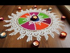 Here is a quick and easy sanskar bharti rangoli designs with colours for diwali and dussehra . It is based on one of my original rangoli designs and I have t. Easy Rangoli Designs Diwali, Rangoli Simple, Rangoli Designs Latest, Simple Rangoli Designs Images, Rangoli Designs Flower, Free Hand Rangoli Design, Small Rangoli Design, Rangoli Border Designs, Rangoli Ideas