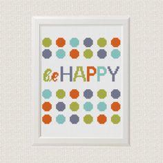 be Happy cross stitch pattern nursery art от AnimalsCrossStitch