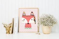 Fox fille Art Print, décor de nurserie Tribal, impression d
