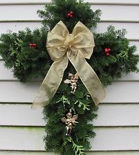 Christmas Cross Balsam Door Wreath or Cemetery Crosses with Angels Cross made with fresh balsam and cedar, Christmas Tree Branches, Christmas Door Wreaths, Christmas Cross, Holiday Wreaths, Christmas Decorations To Make, Holiday Crafts, Holiday Fun, Christmas Holidays, Holiday Decor