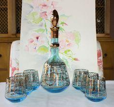Vintage Murano Wine Decanter and 6 Glasses, Cenedese Vetri
