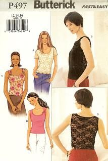 Butterick P497 Four Easy Tops sizes 12-14-16