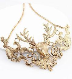 Gold Hollow Deer Necklace - Sheinside.com