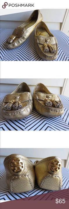 Tory Burch gold 6.5 Moccasins with tassel Lawrence Used most where is shown inside the shoes (insoles) and outside on the soles and leather closest to soles Tory Burch Shoes Moccasins