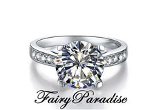 Unique 3 Carat Channel Set Engagement Ring / Promise Rings, 4 prong, Round Cut Man Made Diamond in Solid 925 Silver ( Fairy Paradise ) by FairyParadise on Etsy https://www.etsy.com/listing/238750281/unique-3-carat-channel-set-engagement