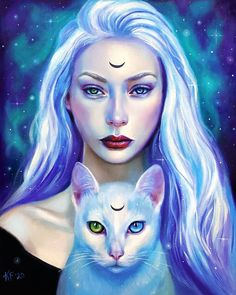 Wiccan Art, Occult Art, Halloween Artwork, Halloween Painting, Beautiful Fantasy Art, Dark Fantasy Art, Black Cat Art, Witch Decor, Pop Surrealism