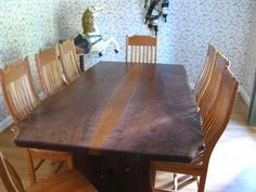 Custom Made Natural Live Edge Walnut Slab Table