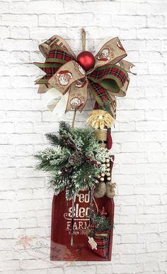Santa Sleigh Door Hanger, Rustic Santa Door Hanger, Christmas Door Hanger,  Red Sled Door Hanger, Santa Door Decor, Red Sleigh Decoration